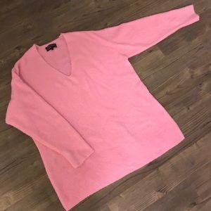 Something Navy V-Neck Pink Sweater